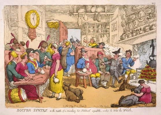 Scen från ett engelskt värdshus från 1700-talets senare del. Ur The English Inn. s 122