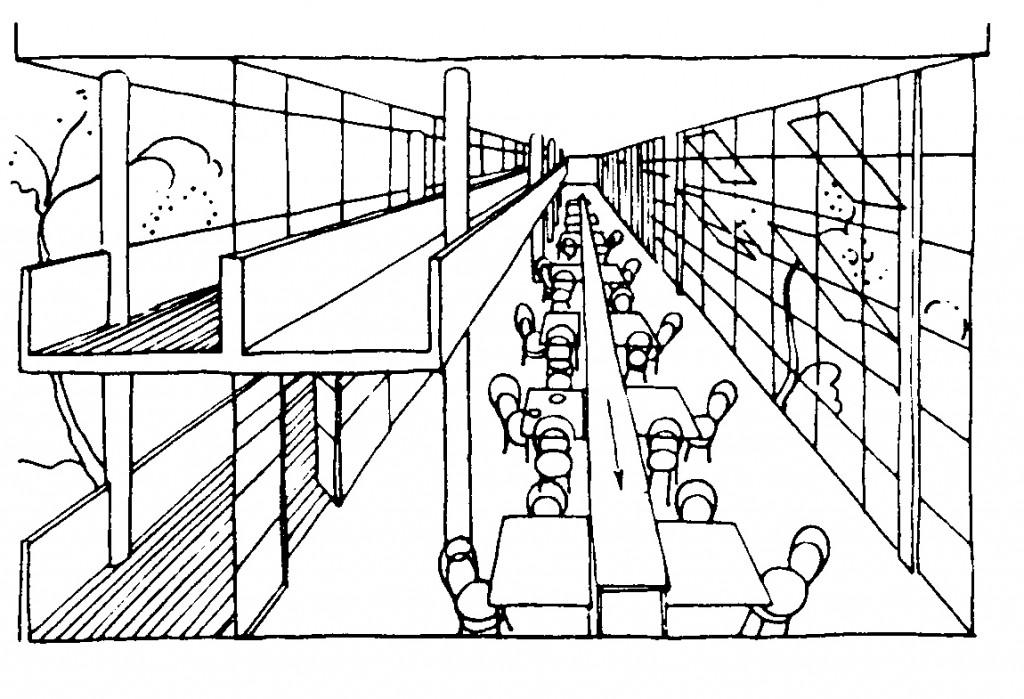 Matsal i ett sovjetiskt bostadsprojekt från 1929. Man tänkte sig här att maten skulle komma på ett löpande band från ett kök placerat i våningen under. Ur Kollektivhus. s 83
