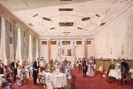 Simpson´s the Strand vid sekelskiftet. Så här var det också inrett enligt beskrivningarna tiden närmast efter det den öppnades i London 1848. Se Buildings and Society. s 237