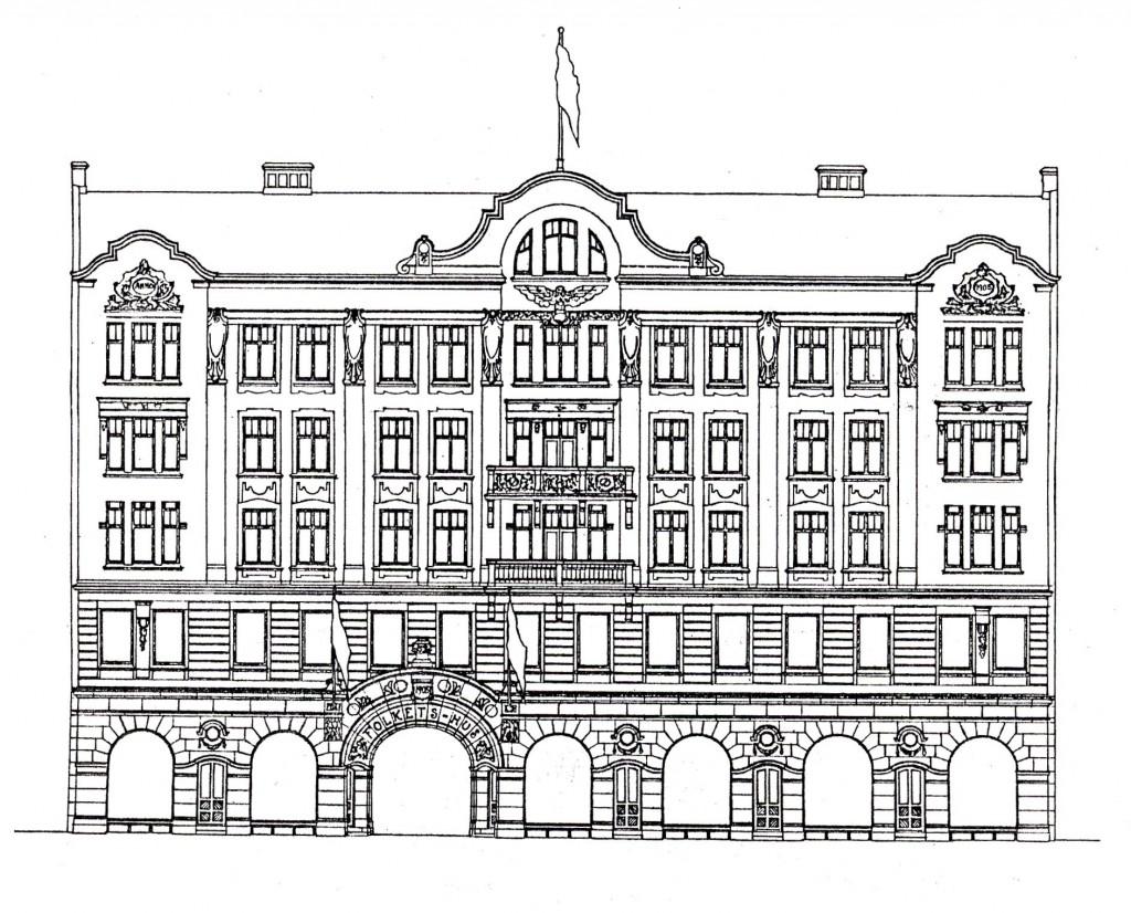 Fasadritning Folkets hus Helsingborg
