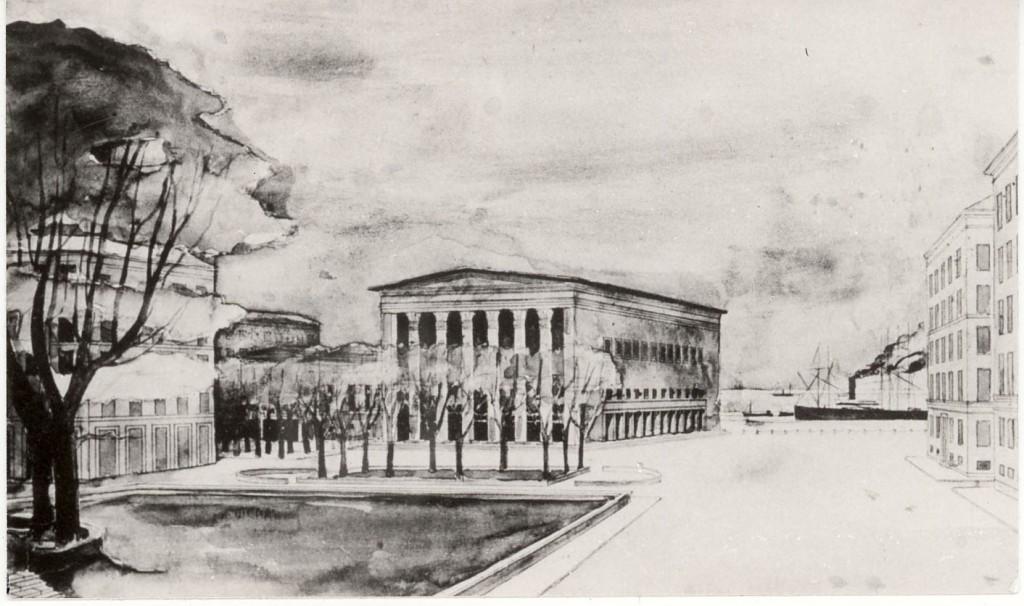 Sven Markelius vinnande förslag till konserthus i Helsingborg